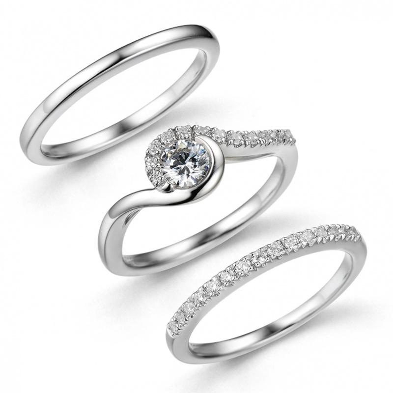 Snowdrop Trilogy Ring Set Bridal Jewellery Rachel Galley