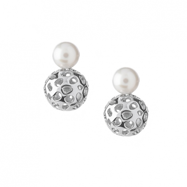 Globe Pearl Earrings Silver