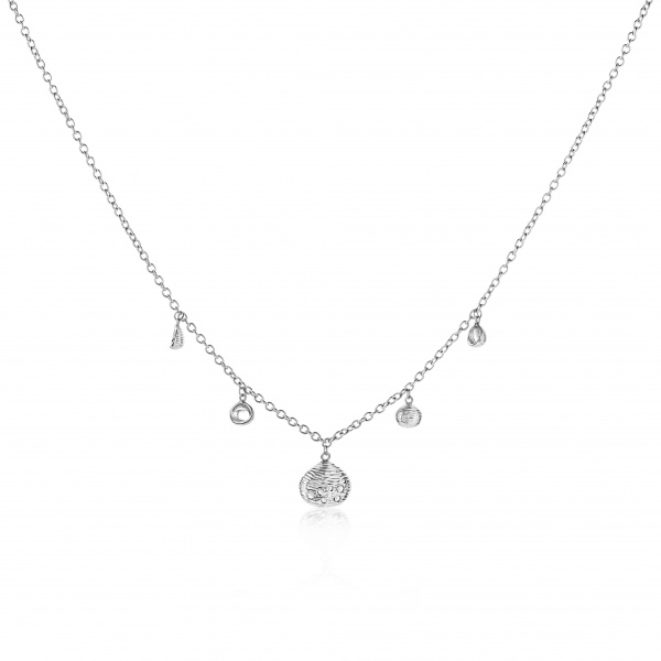 Cala Shell Mini Charm Diamond Necklace