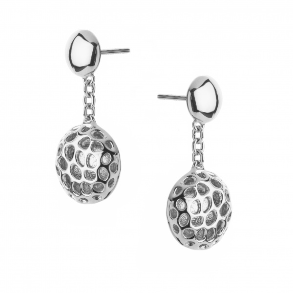 Disc Drop Stud Earrings