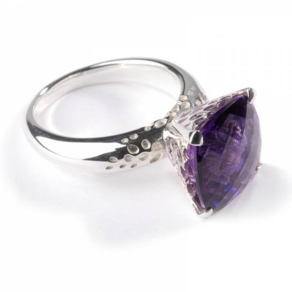 18ct White Gold and Dark Amethyst Cushion Cut Ring