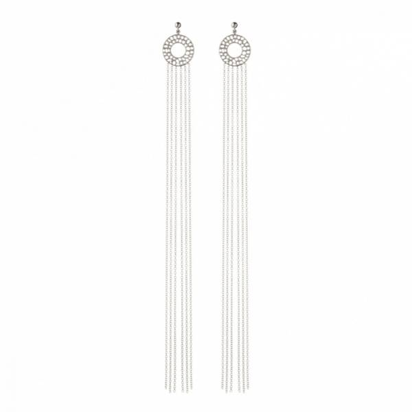 Enkai Sun Long Tassel Stud Earrings Silver