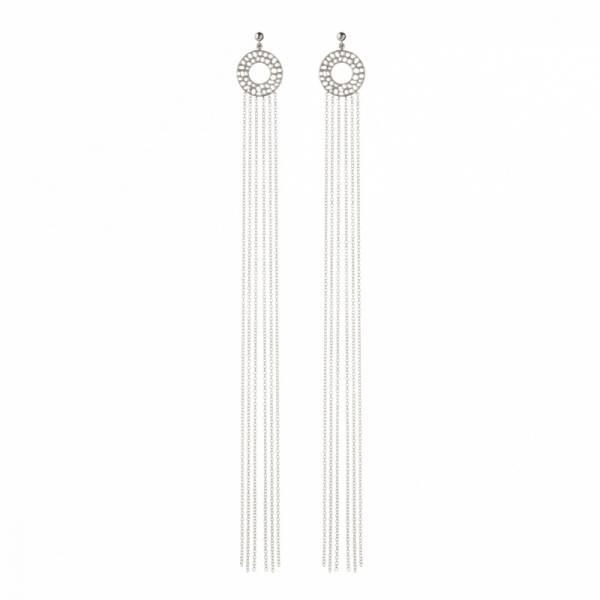 Enkai Sun Long Tassel Stud Earrings Silver