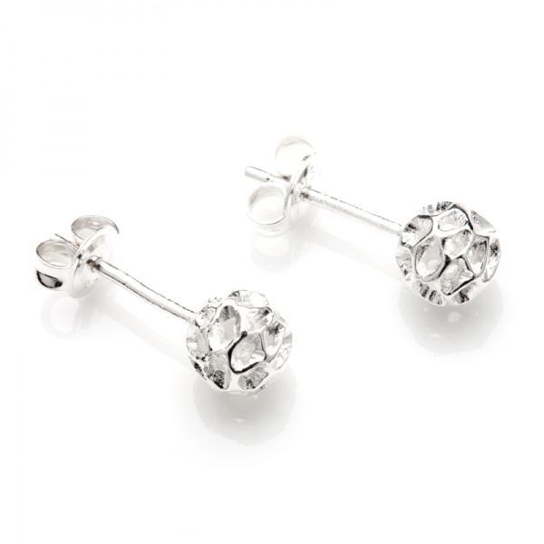Mini Globe Silver Stud Earrings