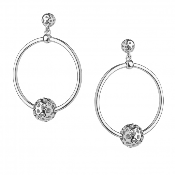 Globe Bead Hoop Earrings