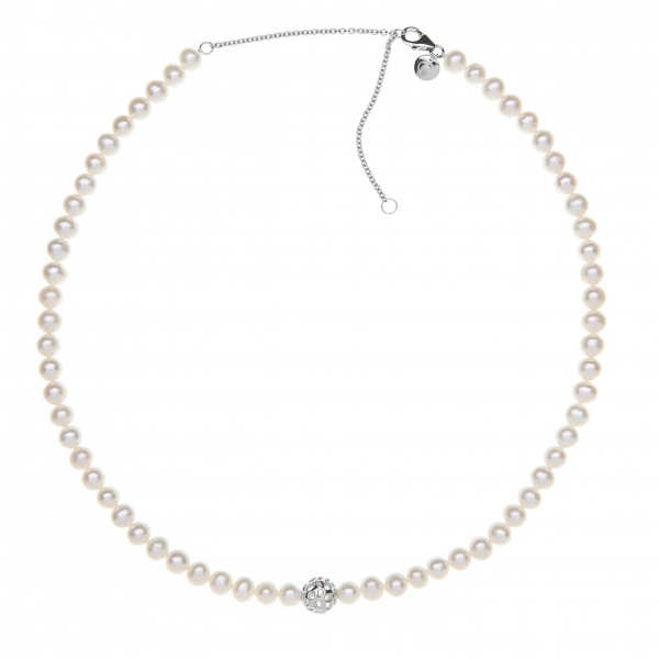 Pearl Globe Necklace White