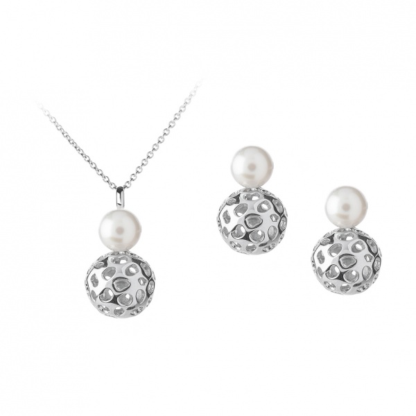 Globe Pearl Pendant & Earrings Set Silver