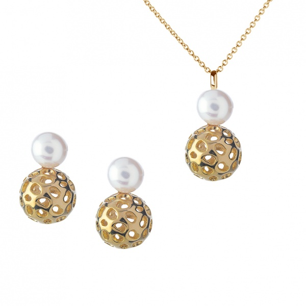 Globe Pearl Pendant & Earrings Set Gold Overlay