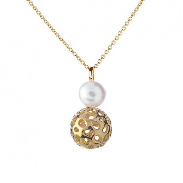 Globe Pearl Pendant Yellow Gold Overlay 20