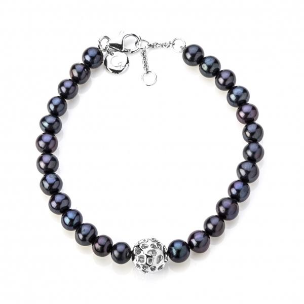 Pearl Globe Bracelet Black