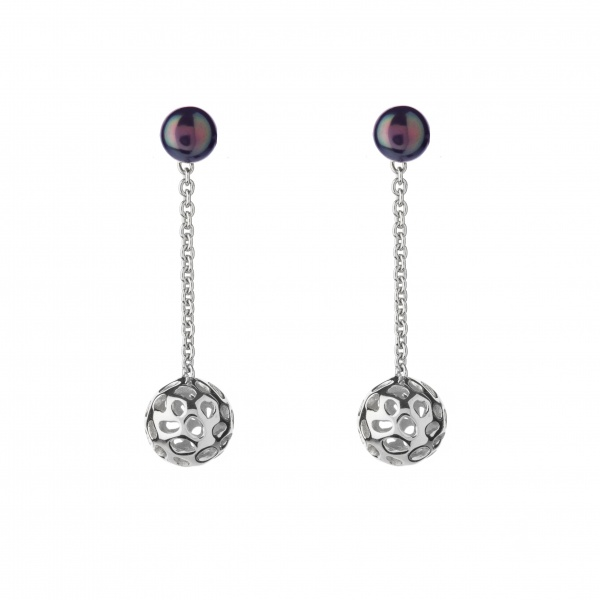 Pearl Globe Earrings Black