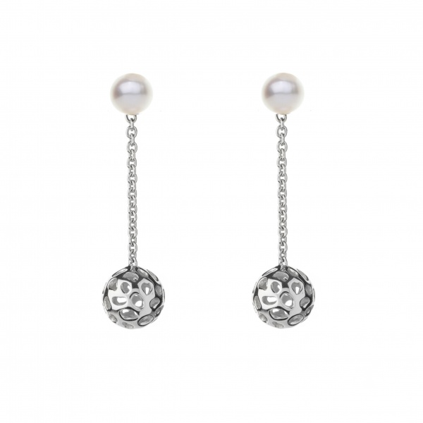 Pearl Globe Earrings White
