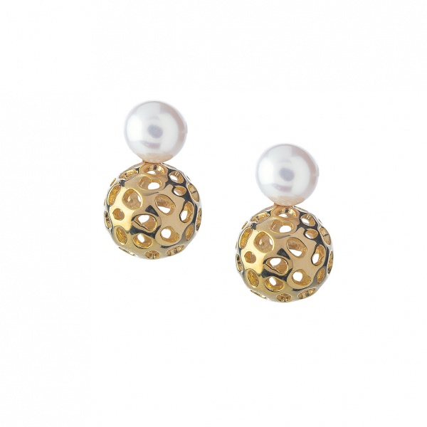 Pearl Globe Earrings Yellow Gold Overlay