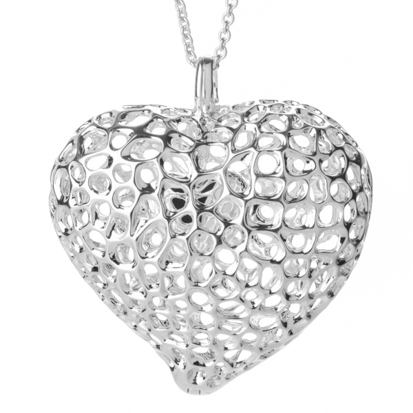 Engravable Amore Heart Lattice Locket