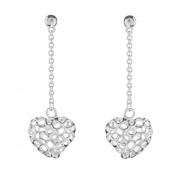 Amore Heart Lattice Drop Stud Earring