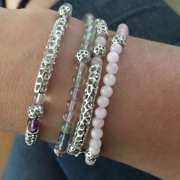 Stretchy Bar Bead Bracelet Rose Quartz