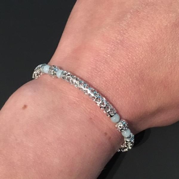 Stretchy Bar Bead Bracelet Amazonite