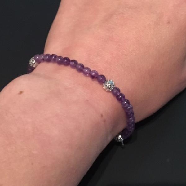 Stretchy Bead Bracelet African Amethyst