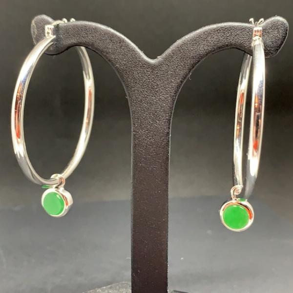 Jade Charm Hoop Earrings