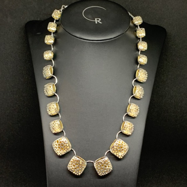 Pillow Two Tone Necklace