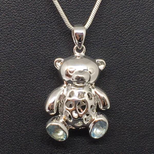 LAST ONE - Blue Topaz Teddy Bear Charms