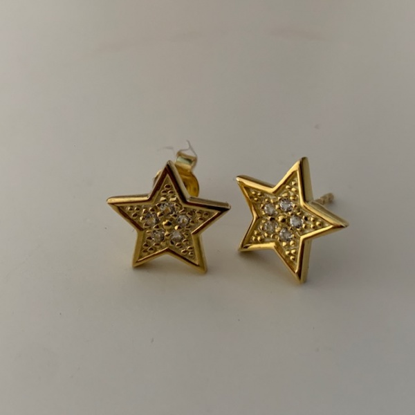 CZ set star studs - Yellow gold overlay