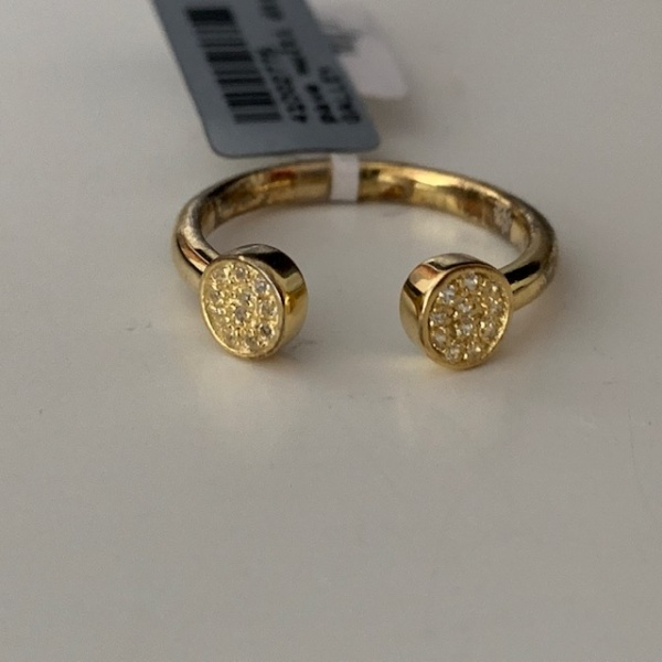CZ set double disc ring - yellow gold overlay