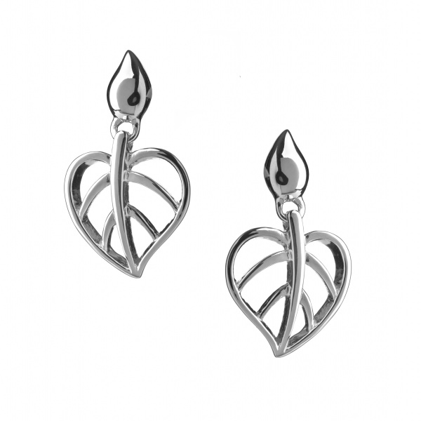 Lotus Heart Drop Earrings