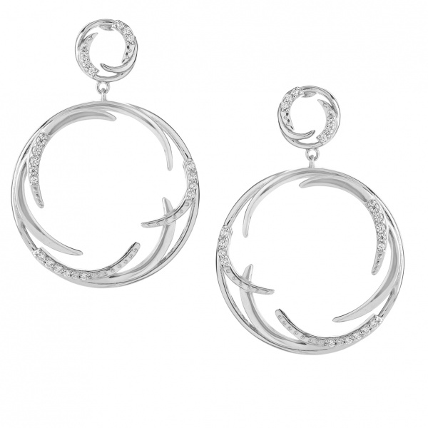 Molto Ice Drop Circle Earrings Diamonds
