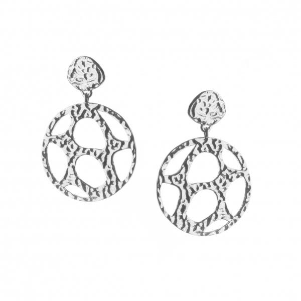 Molten Drop Stud Earrings Silver
