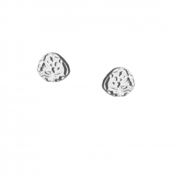 Molten Stud Earrings Silver