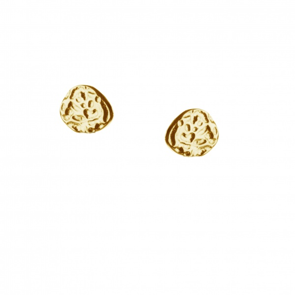 Molten Stud Earrings Yellow Gold