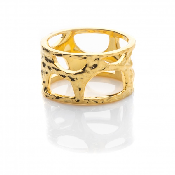 Molten Band Ring Yellow Gold - Size P