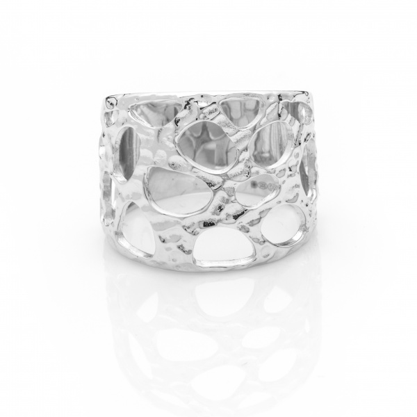 Molten Wide Ring Silver - Size N