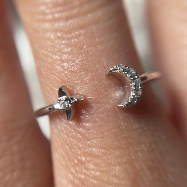Moon and Stars Sparkle Ring