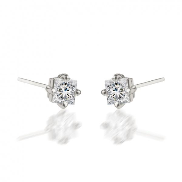 Platinum Princess Cut Diamond Stud Earrings