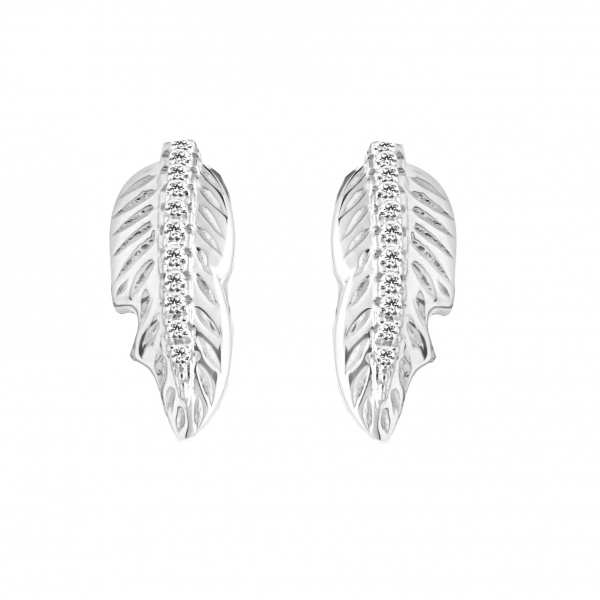 Plume Ocean Diamond Stud Earrings