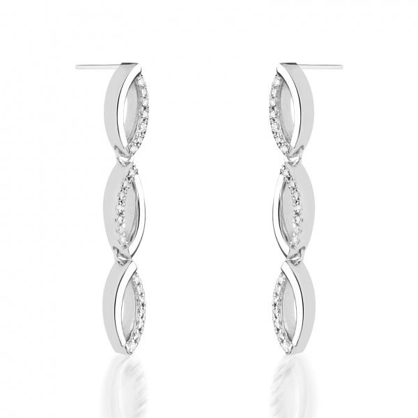 Link triple drop earrings Diamond - ONE OFF