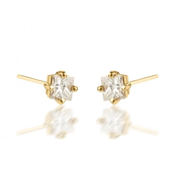 18ct Gold Diamond Princess earrings