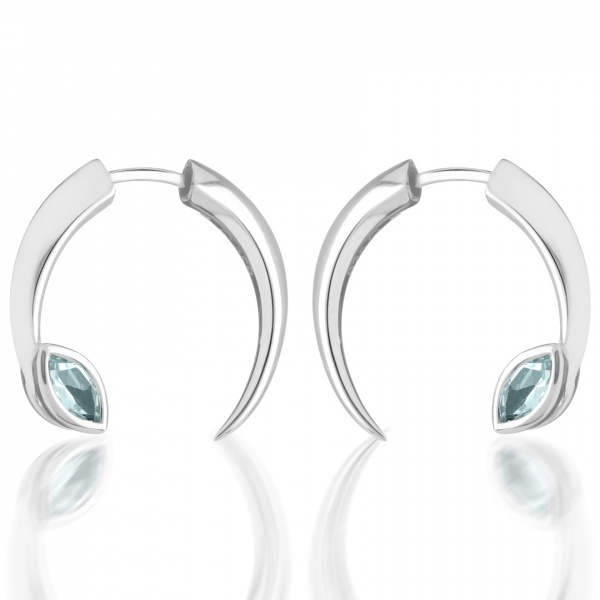Surf Double Moon and Topaz Earrings