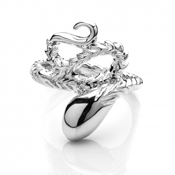 LAST ONE Venom Wrapped Snake Ring Silver Size L