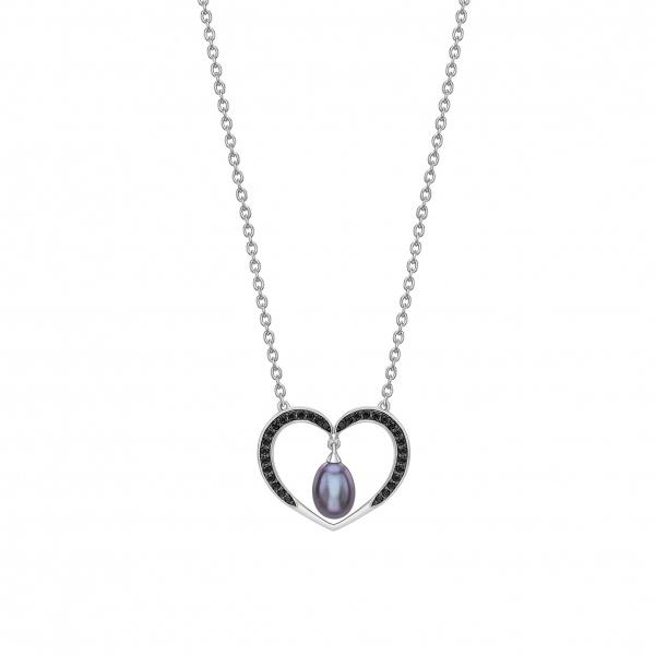 Snowdrop Black Pearl Heart Pendant