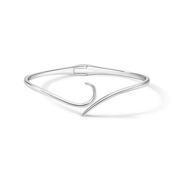 Snowdrop Plain Bangle Silver