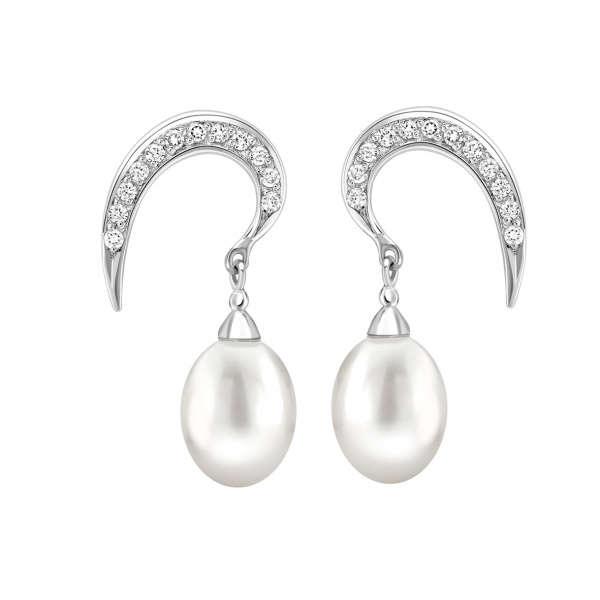 Snowdrop Pearl Earrings Silver