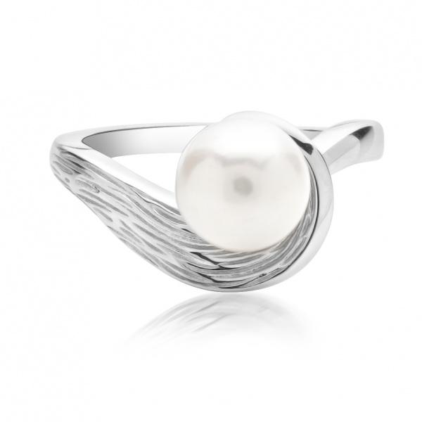 Warp Ocean Pearl Swirl Ring L