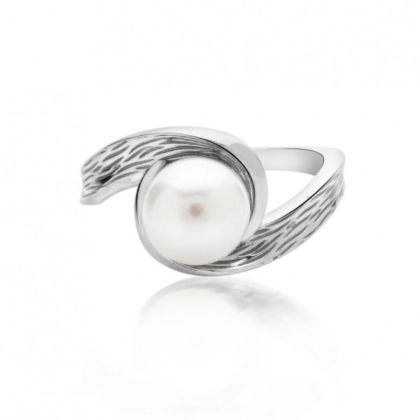 Warp Ocean Pearl Double Swirl Ring L