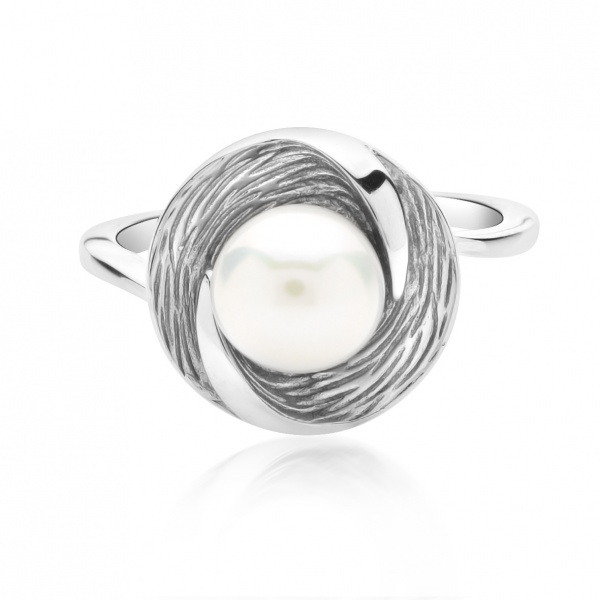 Warp Ocean Pearl Round Ring L
