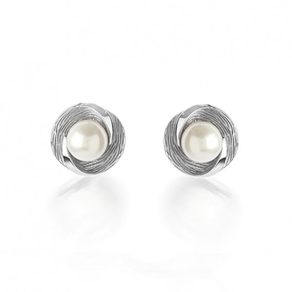 Warp Ocean Pearl Round Stud Earrings